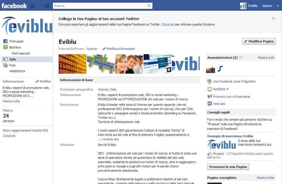facebook per le aziende: immagine della nostra pagina aziendale