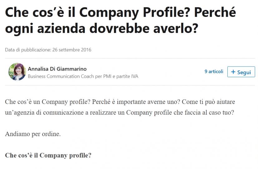 Articolo su LinkedIn Pulse di Annalisa Di Giammarino