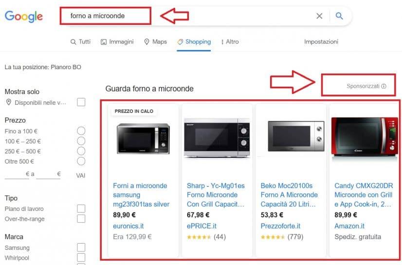 Gli annunci sponsorizzati su Google Shopping