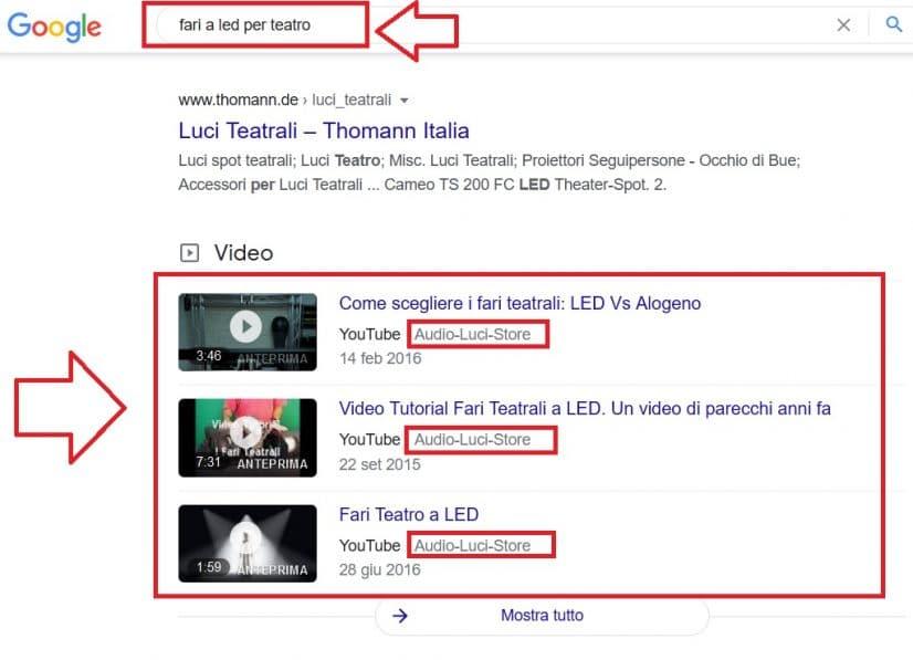 Il monopolio di Audio-Luci-Store sezione video su Google