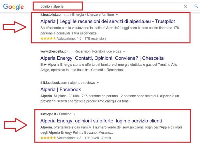 Pagina di ricerca monopolizzata dal brand Alperia