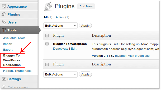 Redirection plug in wordpress