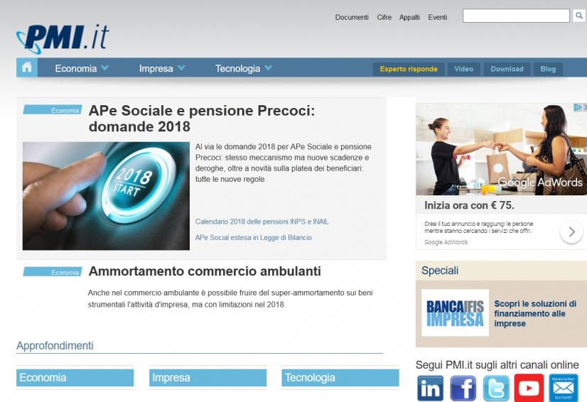 PMI, portale italiano dove pubblicare articoli a pagamento