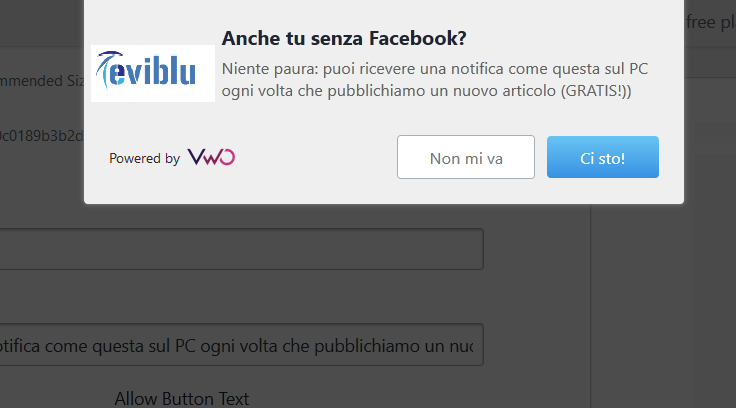 Notifiche push Eviblu