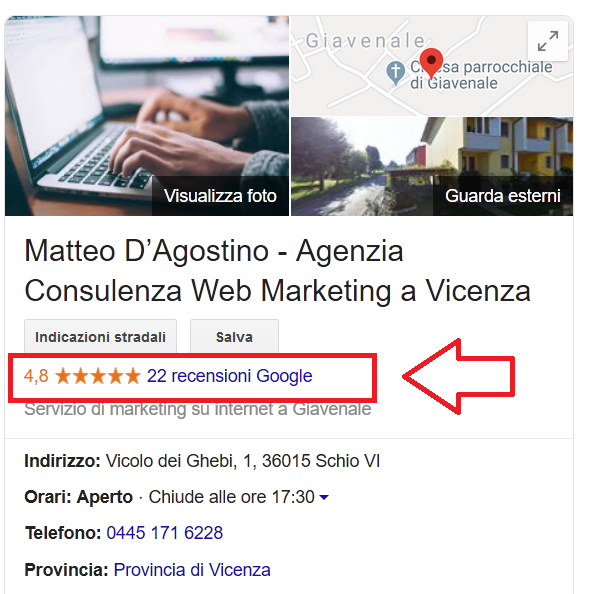 Recensioni Eviblu Google My Busines