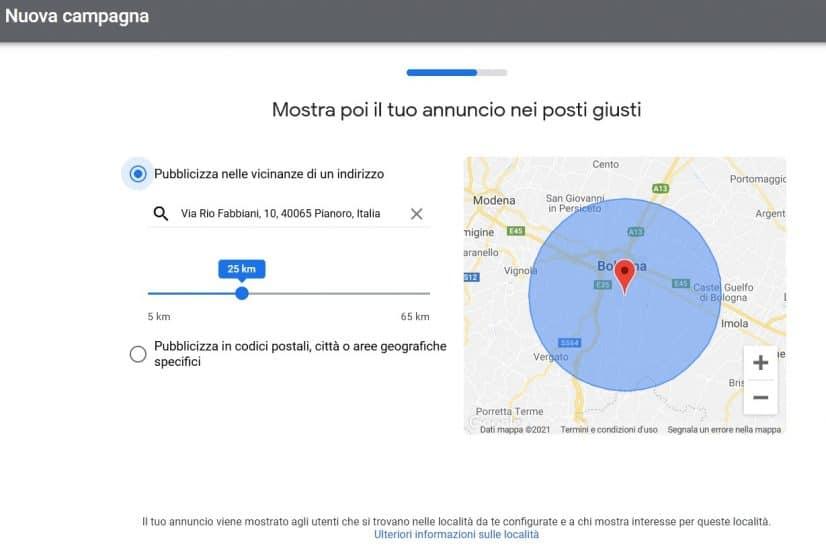 Area geografica annunci pubblicitari