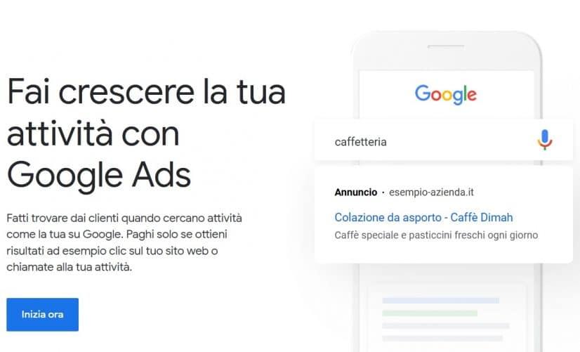 Pagina di benvenuto di Google Ads